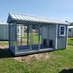 Probuilt Structures Sleel Building Storage Building Sheds She Sheds Man Cave Logo Grey dog kennel two dogs double kennel to match your house