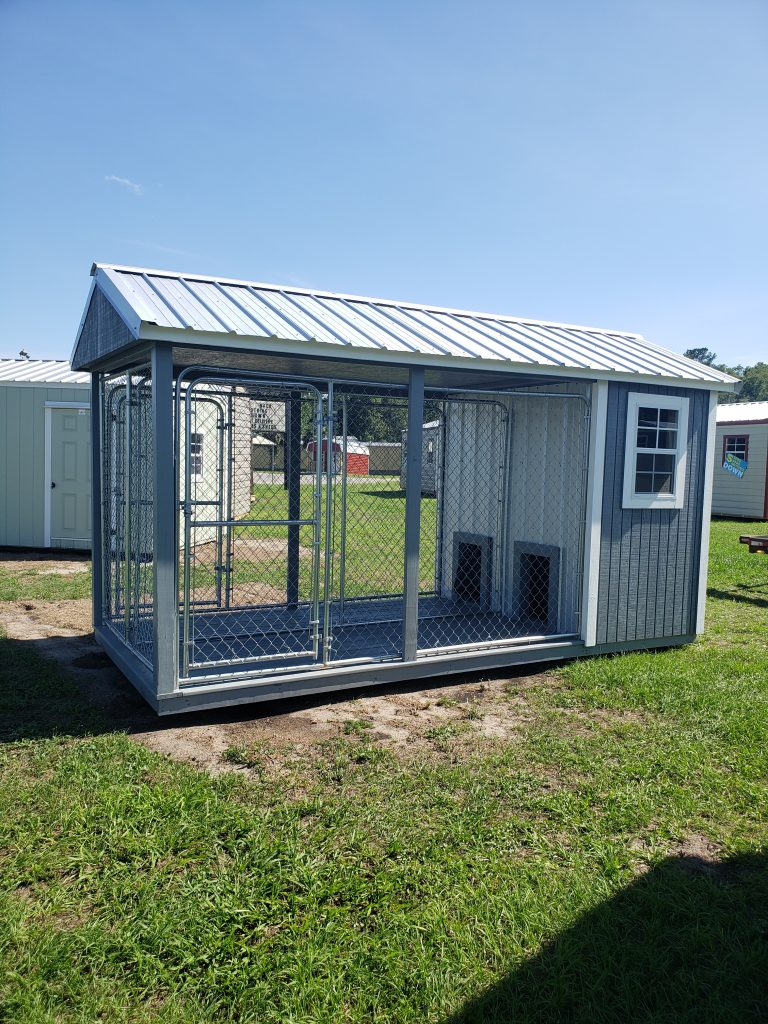 Probuilt Structures Sleel Building Storage Building Sheds She Sheds Man Cave Logo Grey fancy double dog kennel